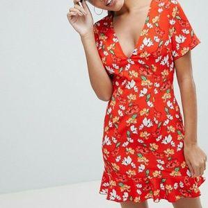 Missguided floral ruffle hem tea dress